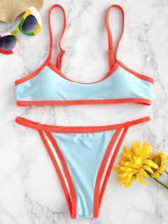 ZAFUL Bikini Sans Armature à Bordure Contrastée - Bleu Oeuf De Robin S