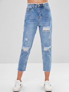 Frayed Ripped Mom Jeans - Denim Blue S