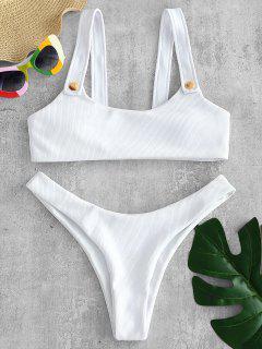 ZAFUL Rippstrumpf-Bikini-Set - Weiß M