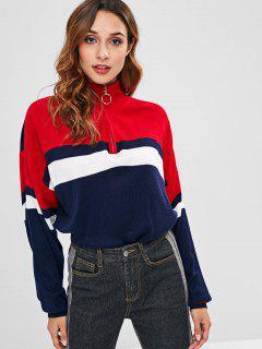 ZAFUL Zip Front Color Block Sweater - Multi