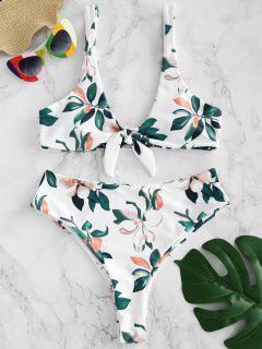 ZAFUL Knot Leaf Print Bikini Set - Weiß L