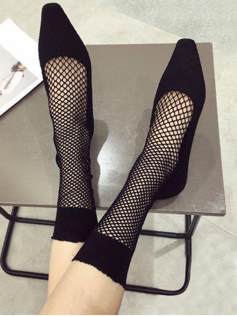 Chaussures Plates à Bout Carré en Résille en Daim - Noir EU 39 Mobile