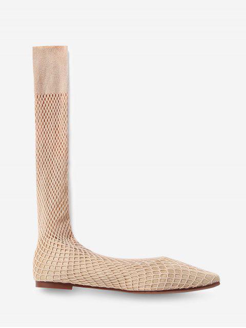 Chaussures Plates à Bout Carré en Résille en Daim - Abricot EU 37 Mobile
