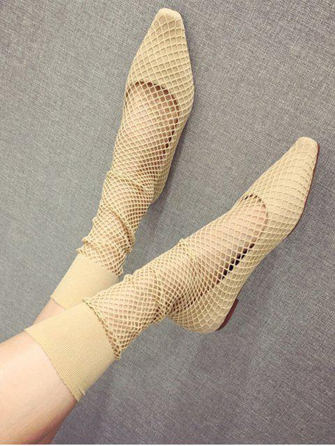 womens Square Toe Sheer Mid Calf Flat Sock Boots - APRICOT EU 37 Mobile