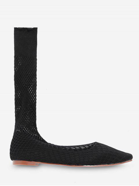 hot Square Toe Sheer Mid Calf Flat Sock Boots - BLACK EU 36 Mobile