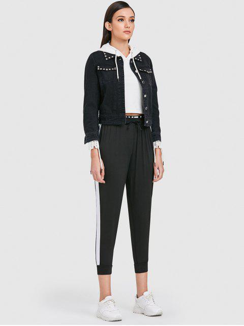 trendy Side Stripe Jogger Tracksuit Pants - BLACK M Mobile