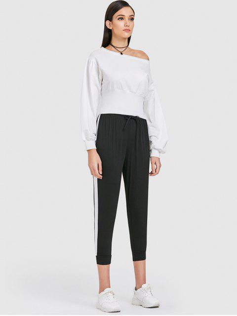 women ZAFUL Drop Shoulder Slash Neck Sweatshirt - MILK WHITE S Mobile