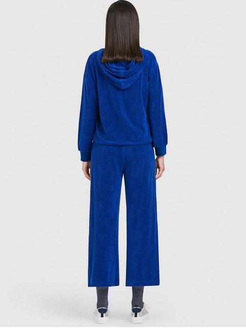 shop ZAFUL Sports Toweling Hoodie and Pants Set - BLUE XL Mobile
