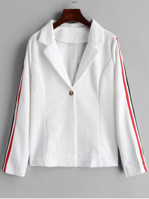 chic One Button Stripes Trim Blazer - WHITE M Mobile