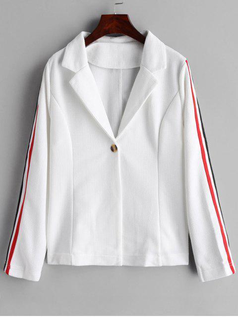 sale One Button Stripes Trim Blazer - WHITE S Mobile