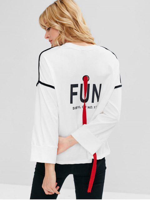 Sweat-shirt Graphique Ours Mignon avec Ruban - Blanc S Mobile
