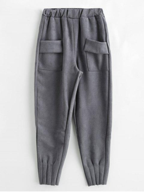 women Solid Color Pants with Pockets - GRAY L Mobile