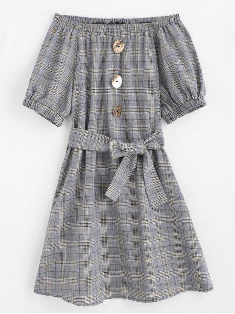 shops Off Shoulder Belted Plaid Dress - GRAY M Mobile