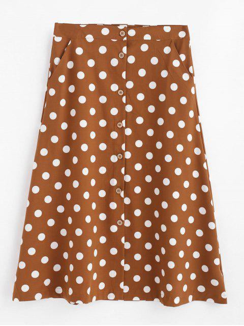 hot A Line Polka Dot Button Up Skirt - BROWN L Mobile