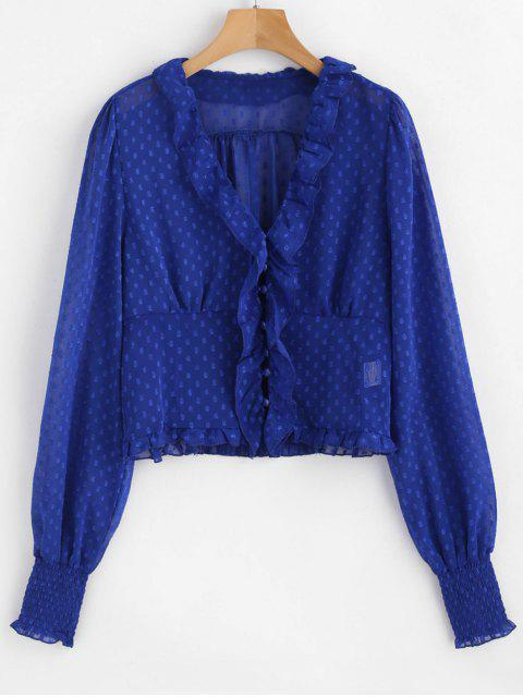 online Smocked Ruffle V Neck Blouse - COBALT BLUE L Mobile