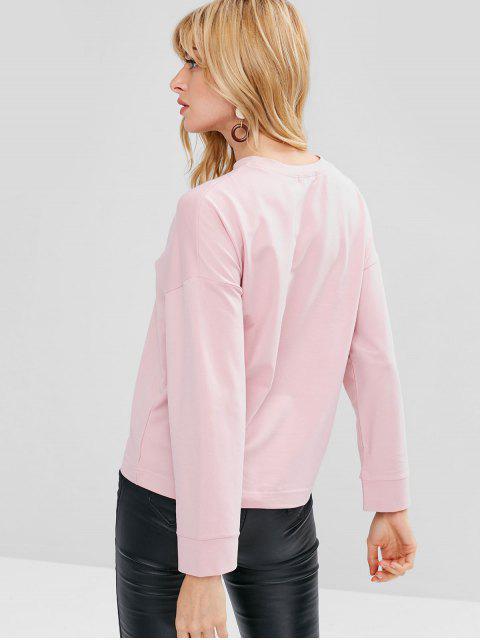 Sweat-shirt Graphique Lettre Jolie - Rose clair Taille Unique Mobile