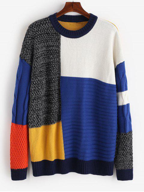shop Streetwear Color Block Patchwork Sweater - MULTI-A L Mobile