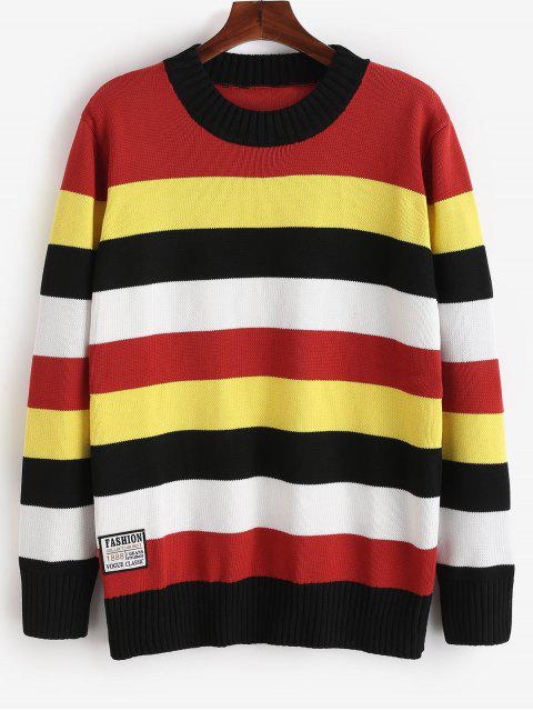 chic Contrast Color Stripe Knit Sweater - RED L Mobile