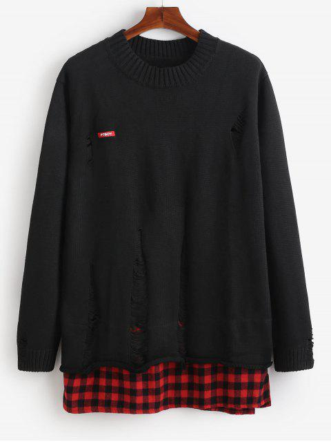 sale Plaid Hem Patchwork Ripped Knit Sweater - BLACK 2XL Mobile