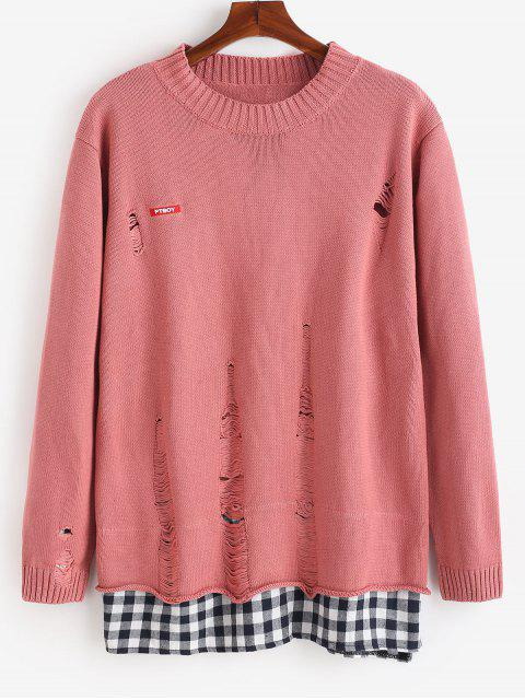 affordable Plaid Hem Patchwork Ripped Knit Sweater - PINK M Mobile