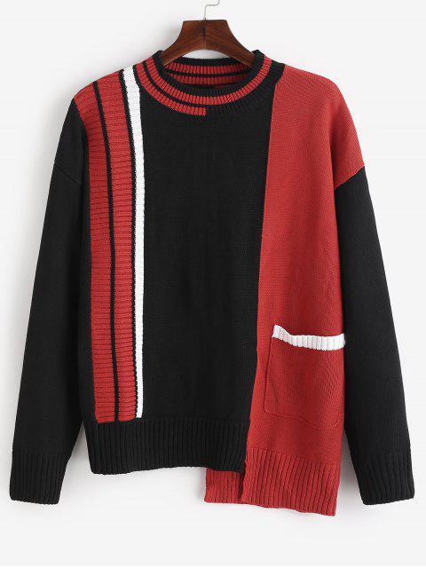 new Asymmetry Hem Pocket Contrasting Knit Sweater - BLACK 2XL Mobile