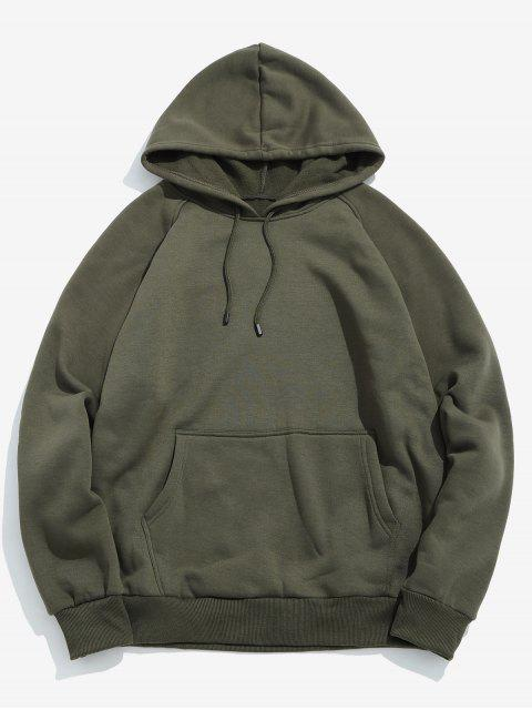 outfit Basic Solid Pouch Pocket Fleece Hoodie - ARMY GREEN 2XL Mobile