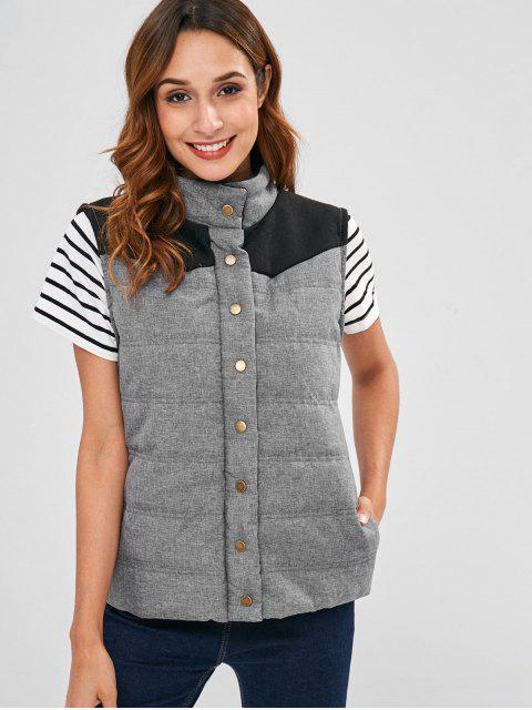 women Contrast Yoke Quilted Waistcoat - GRAY L Mobile