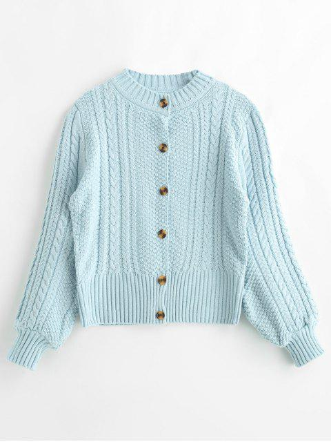 online Button Fly Cardigan with Cable Knit - SEA BLUE ONE SIZE Mobile