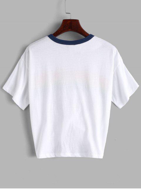 sale Rainbow Stripe Graphic Jersey Tee - WHITE M Mobile