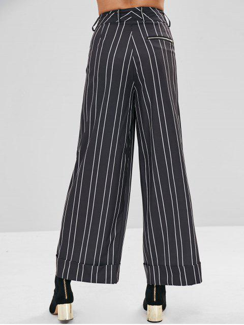 Pantalones de pierna ancha de cintura alta a rayas - Negro S Mobile