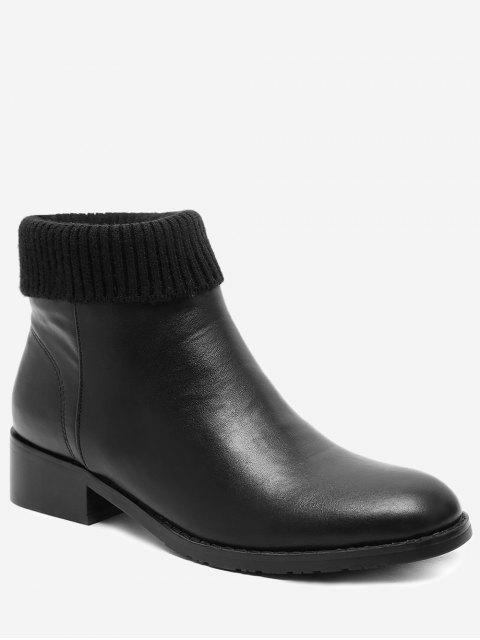 fashion Chunky Heel Sock Panel Short Boots - BLACK EU 38 Mobile
