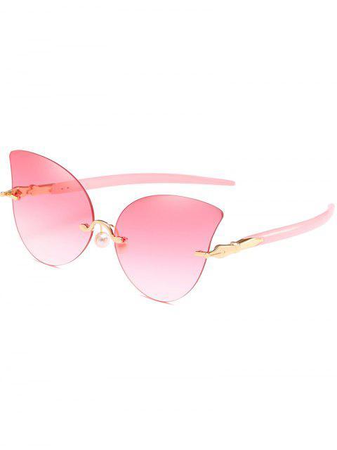 Lunettes de Soleil Anti-Fantigues Papillon avec Perle Artificielle - Rose   Mobile