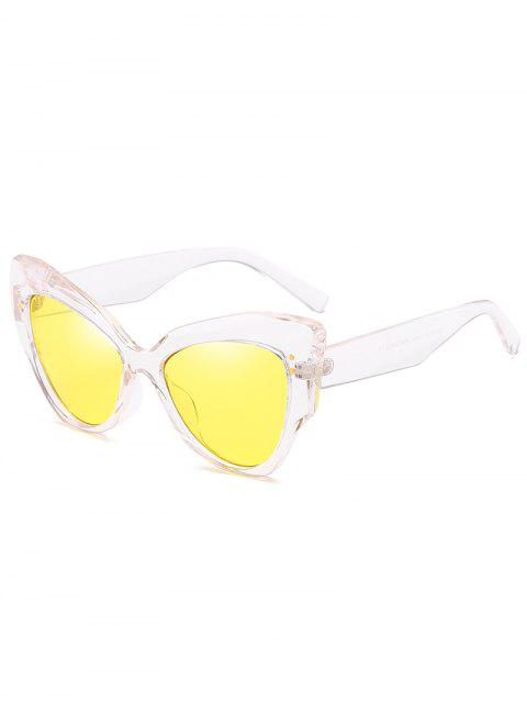 fashion Anti Fatigue Full Frame Rivets Catty Sunglasses - YELLOW  Mobile