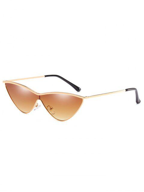 fancy Anti Fatigue Metal One Piece Catty Sunglasses - SANDY BROWN  Mobile