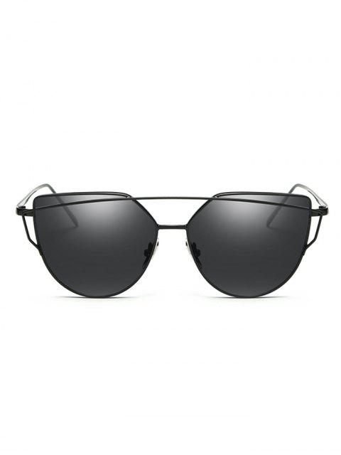 fashion Vintage Crossbar Flat Lens Sunglasses - BLACK  Mobile