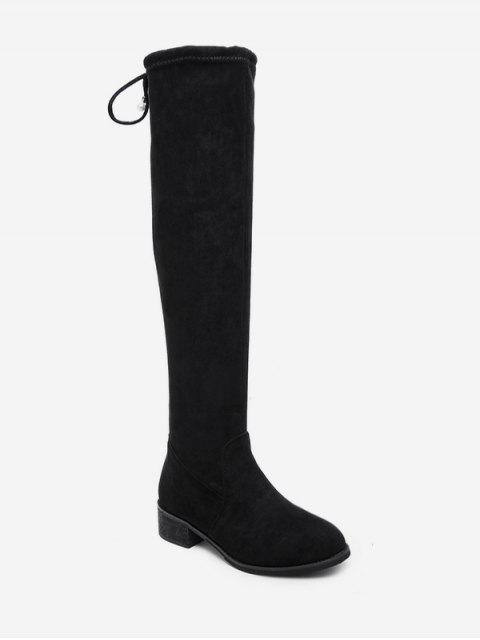 buy Low Heel Drawstring Over the Knee Boots - BLACK EU 40 Mobile