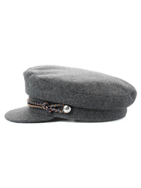 Sombrero de copa plana de invierno de color liso - Gris  Mobile