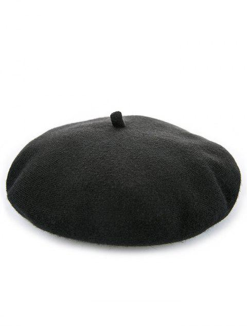 Élégant béret d'hiver de couleur unie - Noir  Mobile