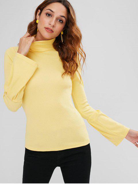 Jersey de cuello alto acanalado Bell Cuffs - Amarillo L Mobile