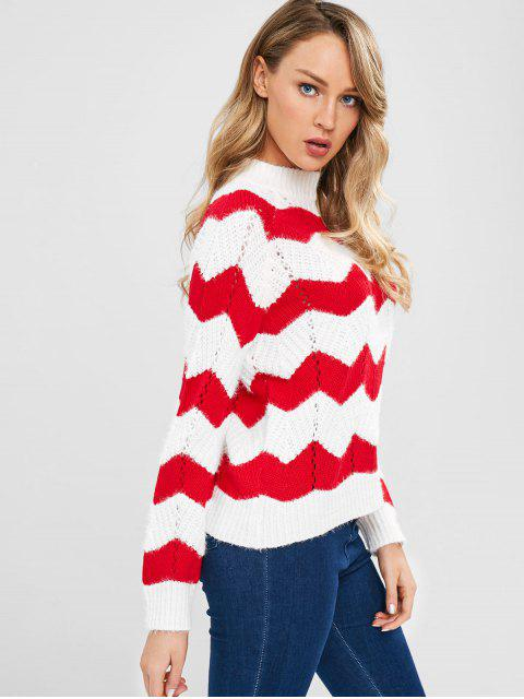 latest Mock Neck Chevron Sweater - WHITE ONE SIZE Mobile