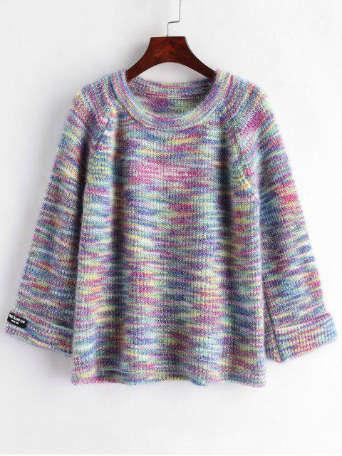 Suéter de manga raglán con cuello redondo - Multicolor Única Talla Mobile