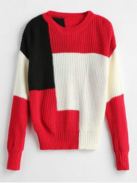 Color Block Tricolor Sweater - Multicolor Talla única Mobile