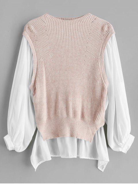 Suéter largo de bloque de color alto bajo - Cerdo Rosa S Mobile