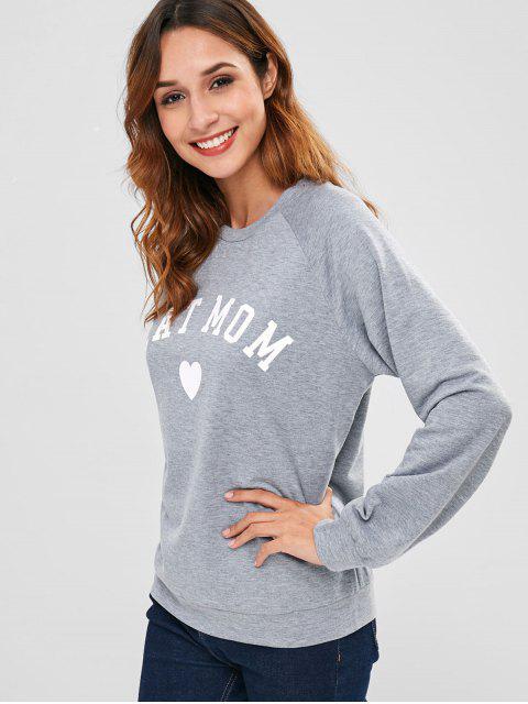 Sweat-shirt Graphique à Manches Raglan - Gris S Mobile