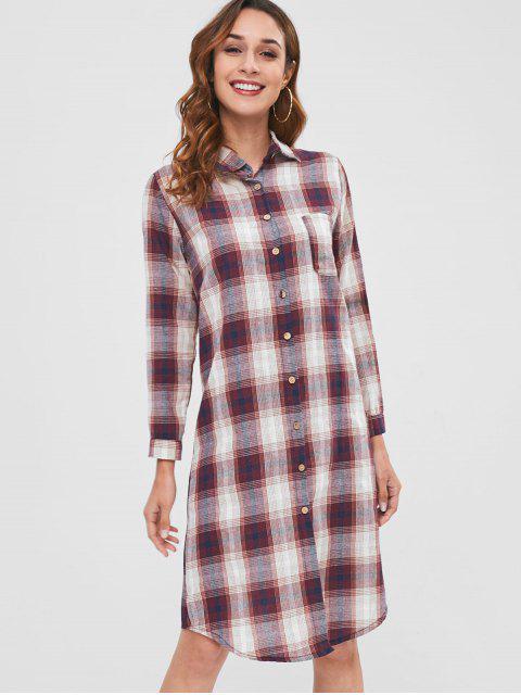 Vestido camisero midi de manga larga a cuadros - Multicolor Talla única Mobile