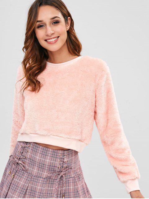 Sudadera corta cuello redondo mullida - Rosa Naranja L Mobile