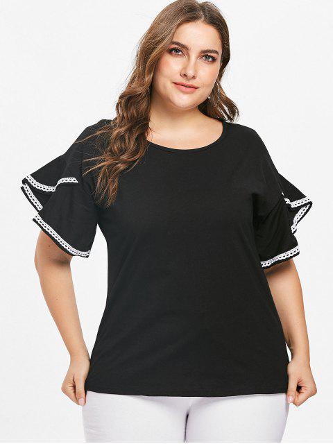 Tee-shirt à manches volantées et à volants - Noir 4X Mobile