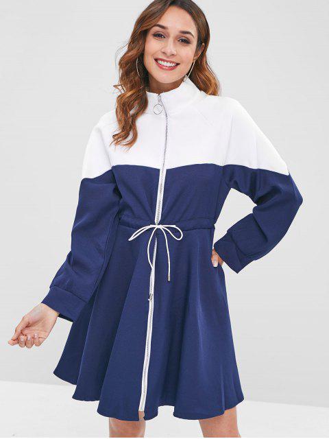Vestido con cremallera con cordón y cintura drapeada - Cadetblue Talla única Mobile
