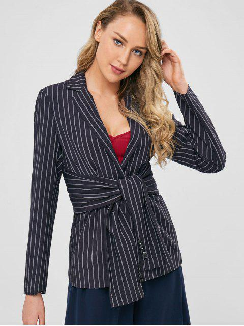 lady One Button Striped Knotted Blazer - BLACK S Mobile