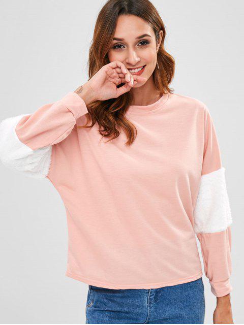 Sudadera con costuras en contraste de piel sintética - Rosa Flamenco L Mobile